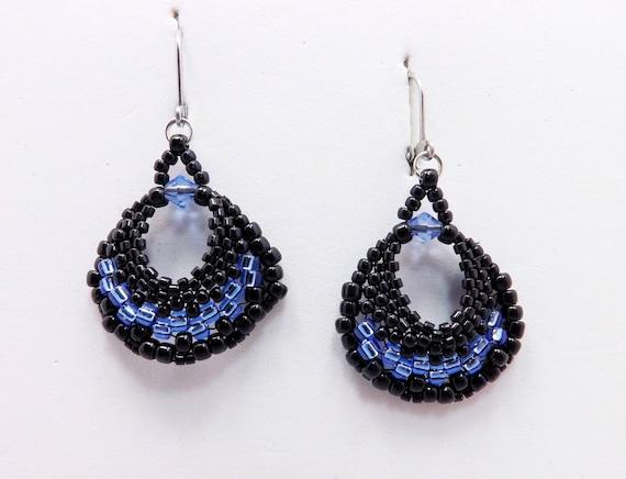 Bright Blue & Black Fan shaped Earrings Sku: ER1028
