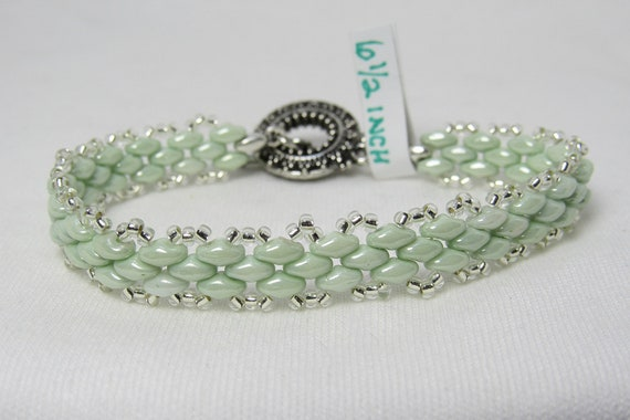 Light Green Super Duo Link-like Beaded Bracelet SKU: BR07