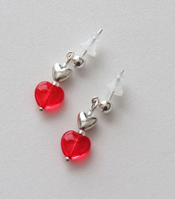 Red Mini Heart Earrings SKU: ER1058