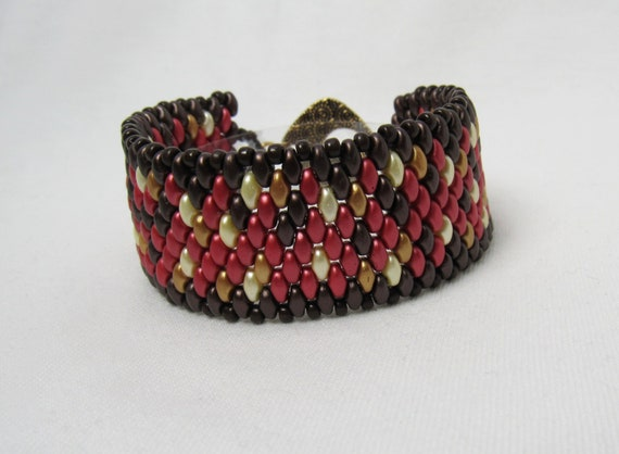 Dark Chocolate, Reds, Cream, & Gold Beaded Bracelet SKU: BR12
