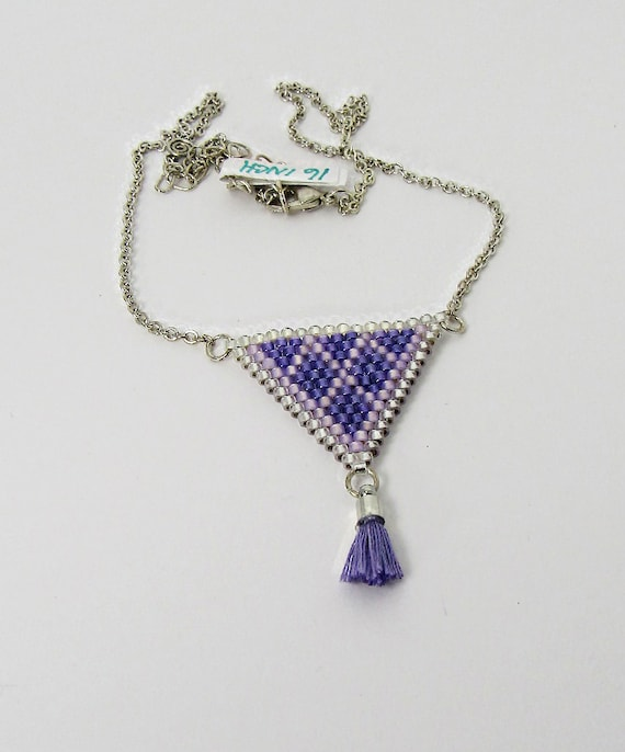 Shades of Purple Triangle Short Necklace  Sku: NK1023