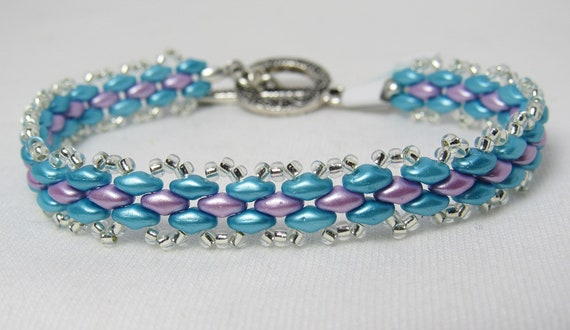 Turquoise & Lavender Super Duo Link-like Beaded Bracelet SKU: BR01