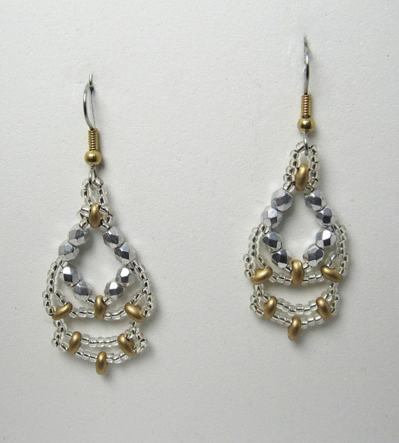 Silver & Gold Lacey Beaded Vintage Style Earrings SKU: ER17