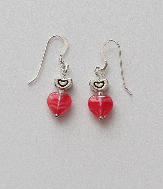 Double Mini Heart Red Earrings SKU: ER1062