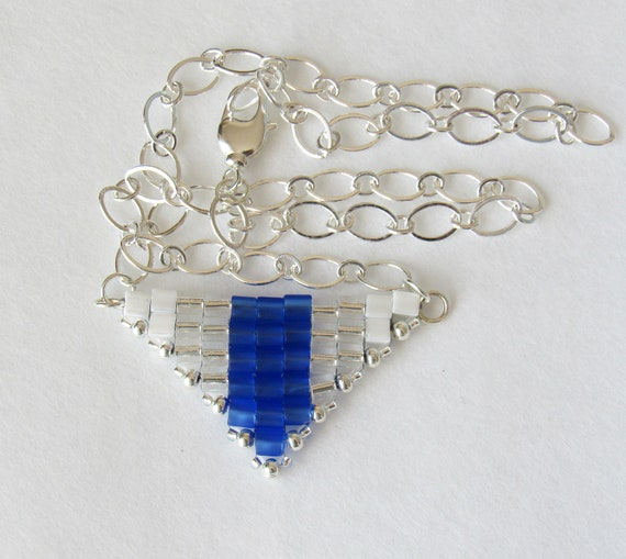 Triangle Pendant Necklace in Royal Blue, Silver, & White SKU: NK1034
