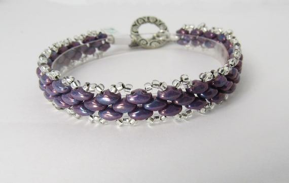 Purple Super Duo Stitched Beaded Bracelet Sku: BR1038