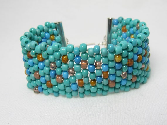 Shades of Turquoise Stitched Beaded Bracelet SKU: BR18