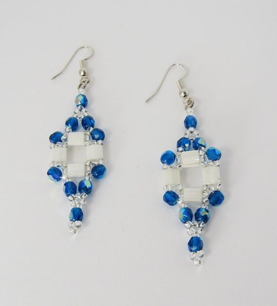 Teal Blue & White Stitch Beaded Earrings Sku: ER1040