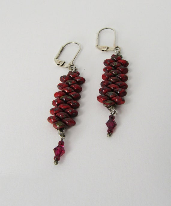 Red Picasso Finish Stitch Beaded Earrings Sku: ER1039