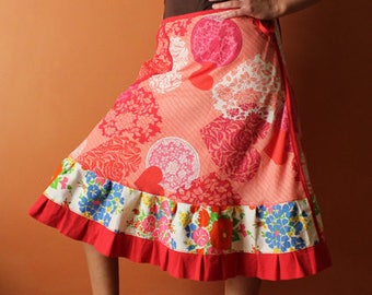 Long Wrap Skirt (one size fits most small - large) red, pink, pocket