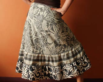 Long Wrap Skirt (one size fits most small - large) black and white