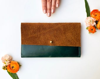 Leather iPhone Wallet - The Veda - Emerald Green & Moccasin Tan