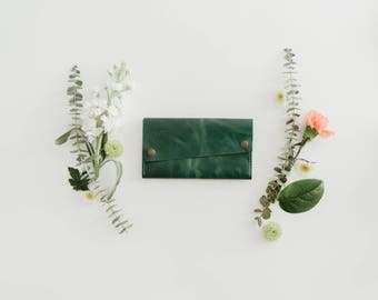 Leather Wallet - The Hazel -  Emerald Green & Honey (color variations available)