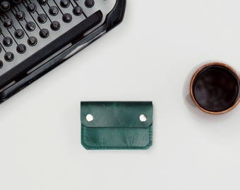 Leather Wallet - The Buddy - Emerald Green (color variations available)