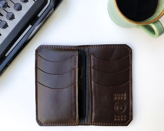 Leather iPhone Wallet - The Data - Espresso Brown