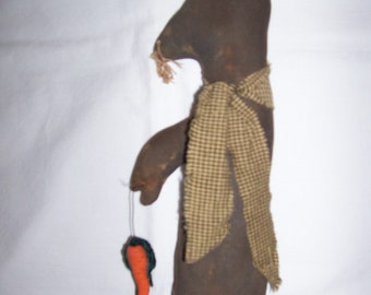 SALE Primitive Grungy Folk Art Black Easter Bunny Tall Skinny with Carrot SALE