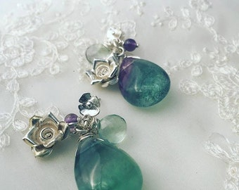 Fluroite and Amethyst Drop Earrings