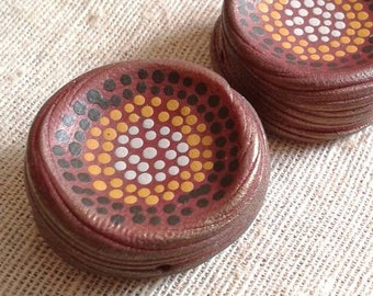 Golden Summer Red - Rustic Speckle Bead - hand painted boho chic sculpted dot bead for jewelry making, bead embroidery, mixed media crafting