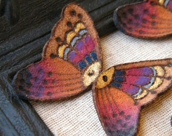 VERY LIMITED Sunset Rainbow - Hand Painted Leather Butterfly Wings - rustic suede pyrography focal pendants - mirrored pair