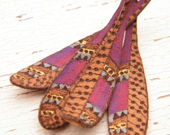 Purple Sunset - Leather Feather rustic boho chic painted suede feather pyrography pendant drop - Single OR Mirrored Pair