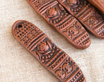 Rustic Copper Brown - Vintage Rose Lace Focal - hand painted vintage lace rose rustic boho chic focal charm pendant drop for art jewelry