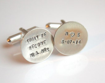 Personalized Cuff Links Cufflinks- Today We Become Mr and Mrs for Wedding Day
