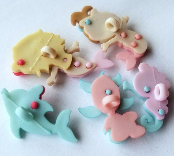 MERMAID KISSES Craft Buttons Dolphin Turtle Seahorse Girl Sea Ocean Dress It Up