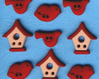RED BIRD HOUSE Birdhouse Nest Feeder Baby Chick Garden Dress It Up Craft Buttons