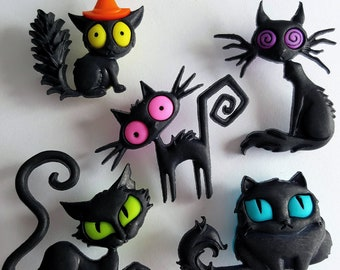 CREEPED OUT CATS Craft Buttons Kitten Black Animal Spooky Halloween Dress It Up
