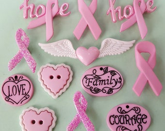 COURAGE & HOPE - Breast Cancer Awareness Pink Ribbon Dress It Up Craft Buttons