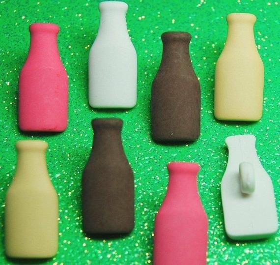 MILKSHAKES Banana Chocolate Milk Shake Bottles Dress It Up Craft Buttons