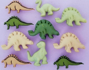 DINOSAURS Craft Buttons Galore Children Prehistoric Animal Novelty Brown Green