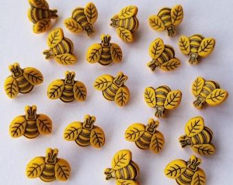 TINY BEES Craft Buttons Bumble Honey Garden Nature Summer Novelty Dress It Up