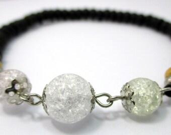 handmade ice flake quartz gemstone beads coconut shell  strectch bracelet