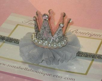 Silver Crown Headband, Baby Tiara Headband, Rhinestone Crown, Toddler headband, Newborn Headband, 1st Birthday Crown, Silver Baby Crown