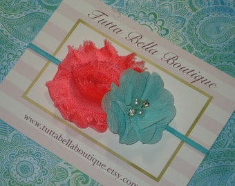 Aqua and Coral Flower Headband, Gold Coral and Aqua Headband, Baby Headband Newborn Headband, Toddler Headband, Infant Bow, Turquoise Coral
