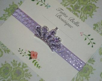 Lavender & Silver Tiara Headband, Baby Crown Headband, Baby Tiara, Jeweled Headband, Rhinestone Crown, Baby headband, Newborn Headband