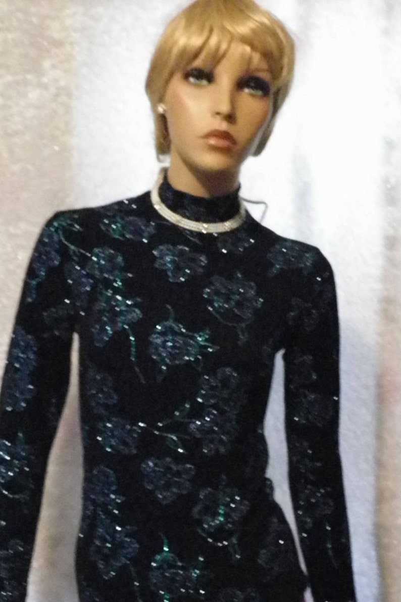 Slinky Top in Black with Teal and Pruple Glitter Ladies Size 12