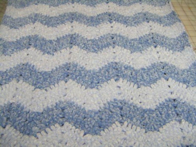 Crochet Baby Blanket in Bernat Baby Velvet Yarn Chevron Pattern