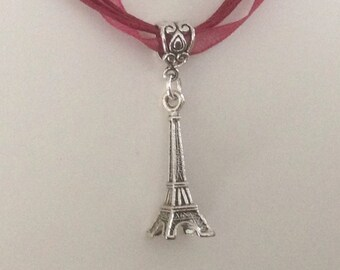 Eiffel Tower Pendant Necklace Paris Eiffel Tower Necklace Ribbon Choker or Suede Cord