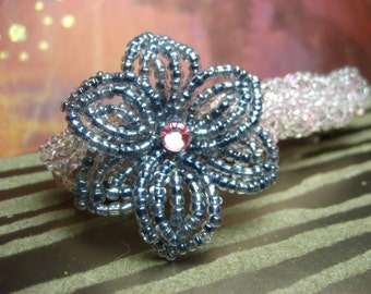 Citylight - French Barrette or Comb - French Beaded Flower