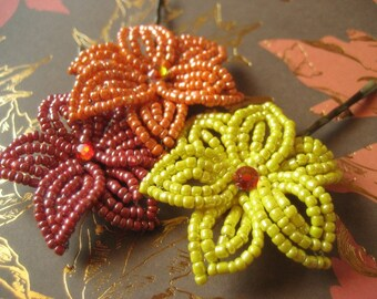 Autumn Foliage - Bobby Pins or U-Pins - French Beaded Flower