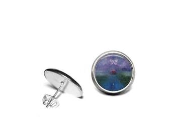 Butterfly high in the Purple Sky Stainless Steel 12mm Stud Earrings/Energy of Transcendence/Original Artwork