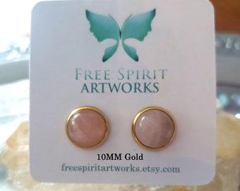Genuine Rose Quartz Stud Earrings/ Natural Round Gemstone/ Stainless Steel/ Gold Plated/ bridesmaid earrings/energy of love