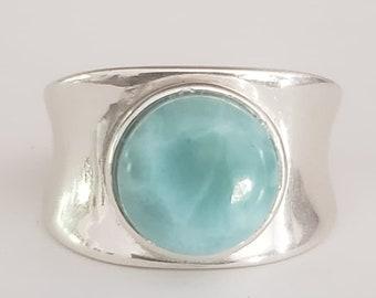 Natural Larimar Ring/Sterling Silver Ring/Statement Ring/Gemstone Ring/Blue Stone Ring/Thick Band Ring/Wedding Ring/Bridal Ring