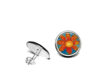 Hope Flower Stainless Steel Stud Earrings/Original Artwork