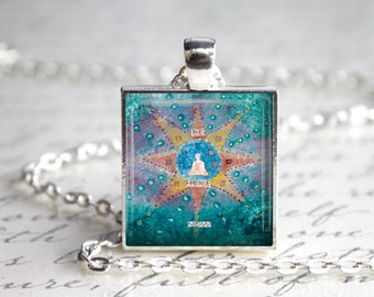 Beautiful BE HERE NOW Square Pendant