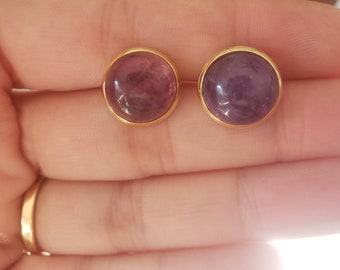 Amethyst Stud Earrings, 12MM Natural Round Gemstone, Gold Plated, Stainless Steel, Spiritual Connection, Intuition, Creativity