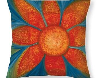 Flower Garden Sutra Throw Pillow Cover/Energy of Hope/Original Art Throw Pillow/Double Sided Print
