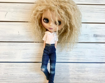 Skinny Jeans for Blythe Doll - Ripped Dark Wash